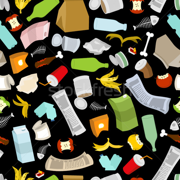 Rubbish seamless pattern. Garbage texture. trash ornament. dirty Stock photo © MaryValery