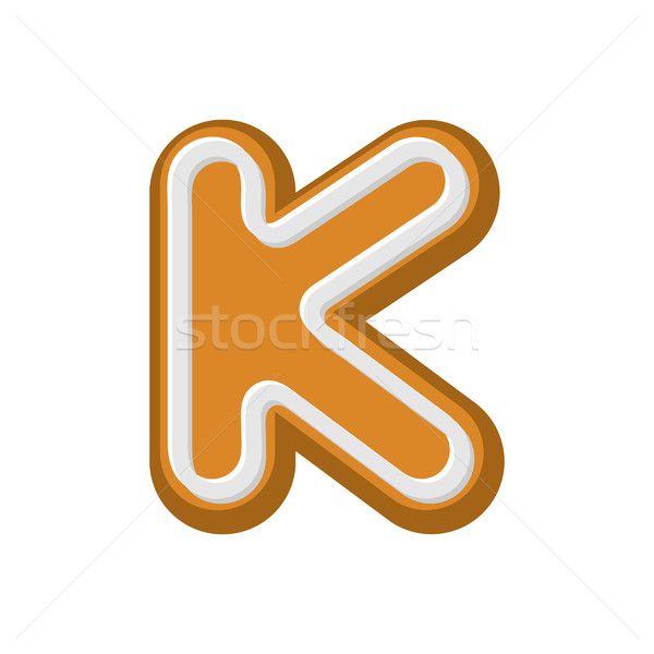 Letter K Gingerbread. Peppermint honey-cake font. Cookies alphab Stock photo © MaryValery