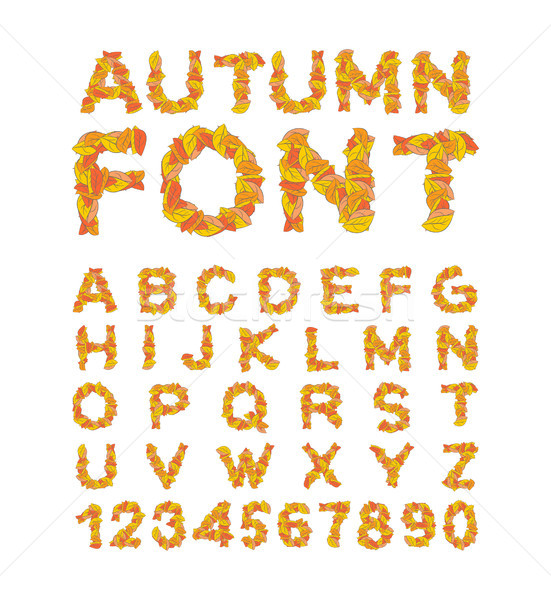 Autumn font. Yellow leaves of alphabet. autumnal ABC. Letters of Stock photo © MaryValery