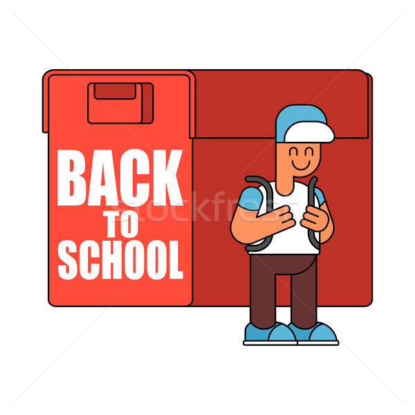 Back to school.  Boy and big  schoolbag. Illustration for Septem Stock photo © MaryValery