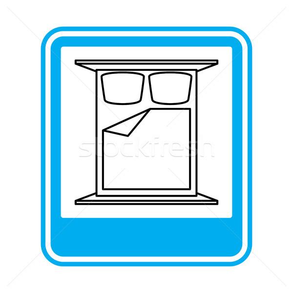Lit panneau routier hôtel symbole bleu rectangle Photo stock © MaryValery