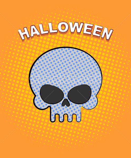 Halloween pop art schedel oranje punten vector Stockfoto © MaryValery