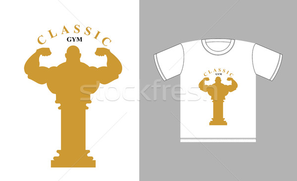 Classic Gym logo. Bodybuilder silhouette and an ancient Greek co Stock photo © MaryValery
