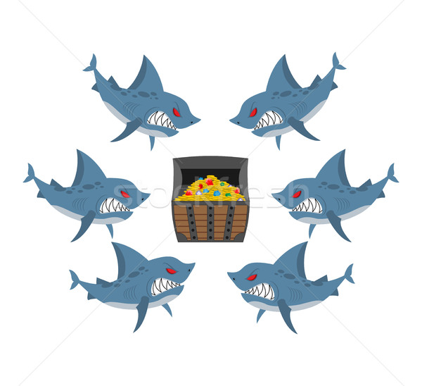 Sharks and prey. Chest of gold and an angry fish. Vector illustr Stock photo © MaryValery