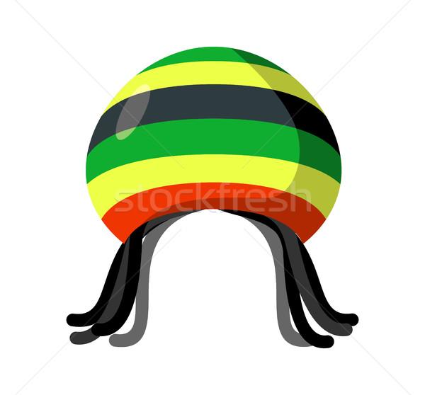 Rastafarian hat and dreadlocks isolated. Jamaica cap and hair Stock photo © MaryValery
