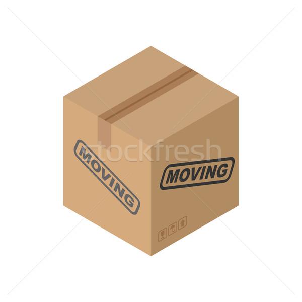 Cardboard box Moving isolated. pasteboard case on white backgrou Stock photo © MaryValery