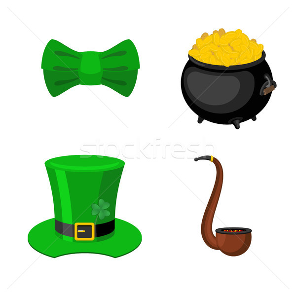 St. Patrick's Day icon set. Leprechaun accessory. pot of gold an Stock photo © MaryValery