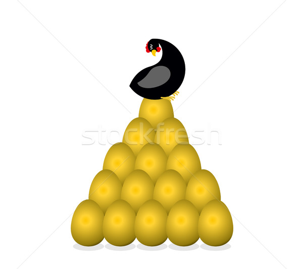 Black hen bears golden egg. Symbol of well-being and prosperity. Stock photo © MaryValery