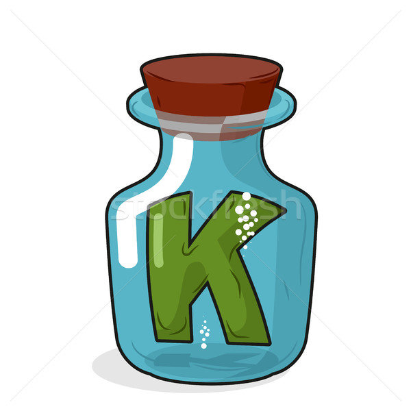 Letter in a laboratory bottle. K In a magic bottle with a wooden Stock photo © MaryValery