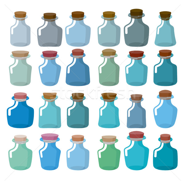 Set of glass bottles for laboratory research. Magic bottle with  Stock photo © MaryValery