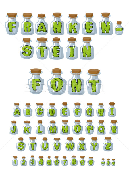 Frankenstein font. Green Letters in laboratory jars for study. E Stock photo © MaryValery