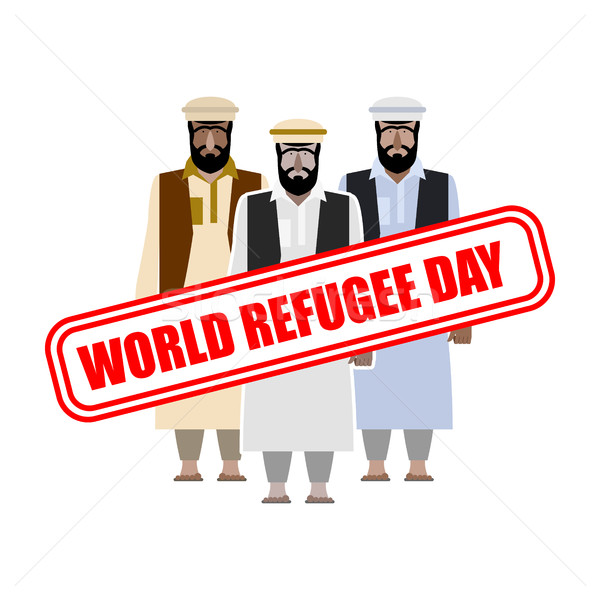 World refugee day. Expatriates in  Syrian garments. refugee stam Stock photo © MaryValery
