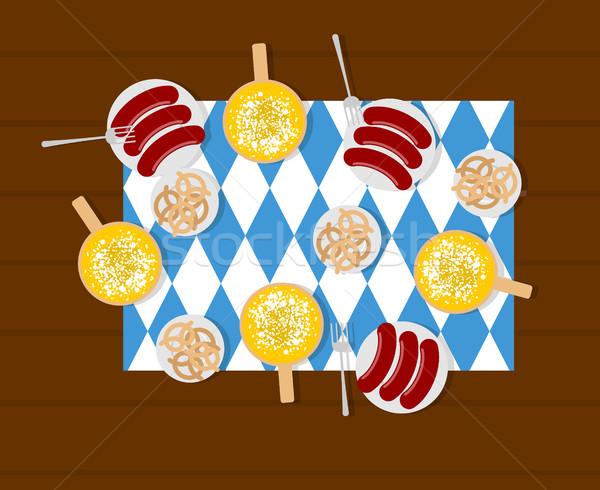 Oktoberfest étel sör kolbászok perecek tányér Stock fotó © MaryValery