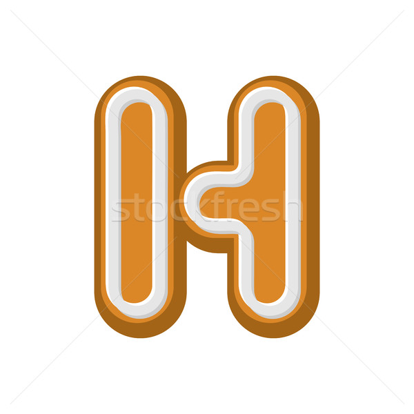 Letter H Gingerbread. Peppermint honey-cake font. Cookies alphab Stock photo © MaryValery