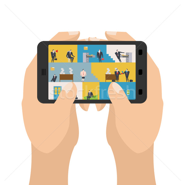 Office in smartphone. Workplace in phone. Managers in work. Busi Stock photo © MaryValery
