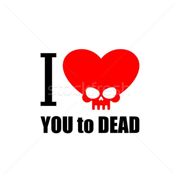 Amour mort symbole coeur crâne vecteur Photo stock © MaryValery