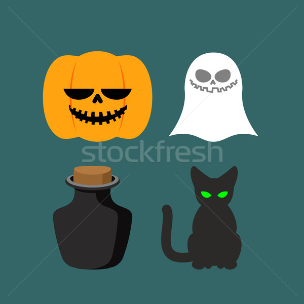 Set of icons for Halloween. Symbol dreaded holiday: Ghost and bl Stock photo © MaryValery