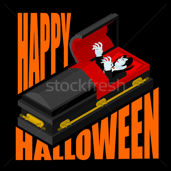 Happy Halloween. Dracula in open coffin. Illustration for terrib Stock photo © MaryValery