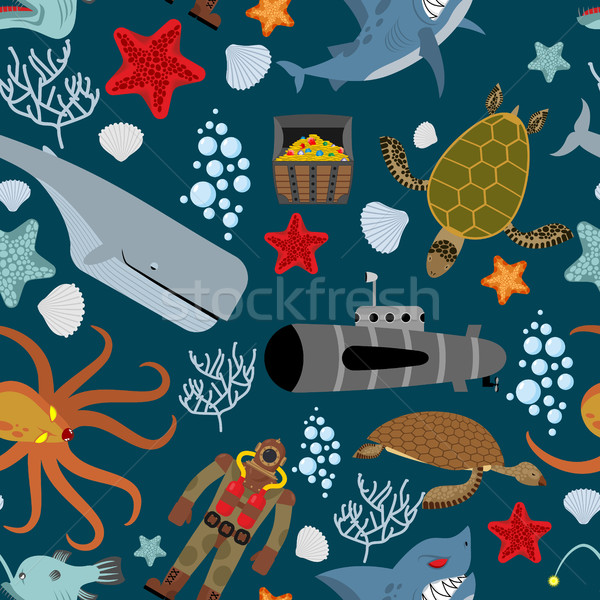 Marine seamless pattern. Inhabitants of the ocean. Keith and aqu Stock photo © MaryValery