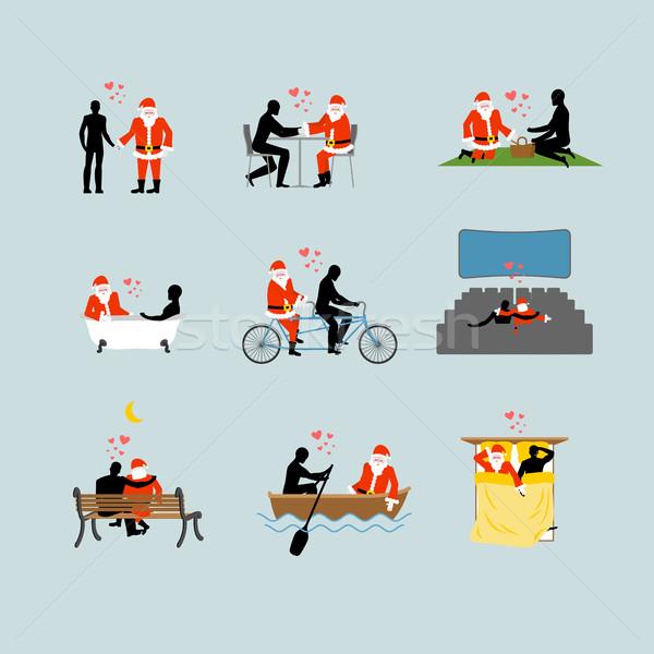 Szeretet mikulás gyűjtemény szerető karácsony szett Stock fotó © MaryValery