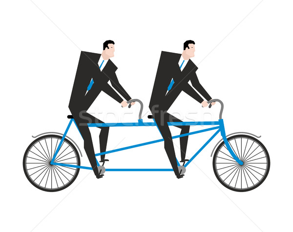 Businessman on tandem. Business team on bicycle. Boss navigator. Stock photo © MaryValery
