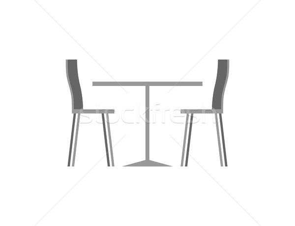 Stock photo: Table and chairs in cafe on white background