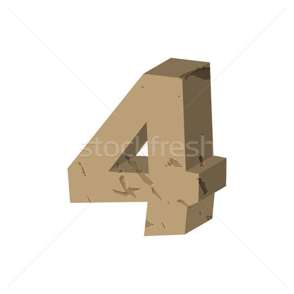 Number 4 stone. Rock font four. Stones alphabet symbol. rocky cr Stock photo © MaryValery