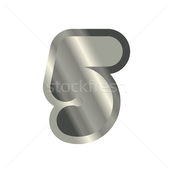 Number 5 steel. Metal font five. Silver alphabet sign. Iron ABC  Stock photo © MaryValery