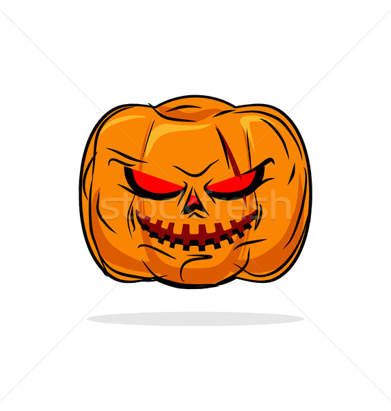 Terrible pumpkin Halloween symbol. Vegetables on a white backgro Stock photo © MaryValery