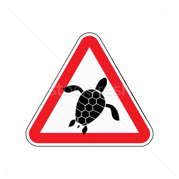 Danger sign turtle. Attention here live marine reptiles. Vector  Stock photo © MaryValery
