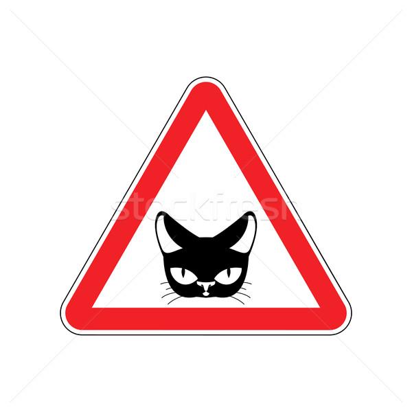 Uwaga kot niebezpieczeństwo czerwony znak drogowy domowych Zdjęcia stock © MaryValery