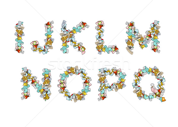 Rubbish font. Trash ABC. garbage alphabet. Letter litter. Part 2 Stock photo © MaryValery