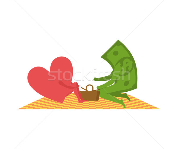Love and money On picnic. Selling love. Dollar and heart. Basket Stock photo © MaryValery
