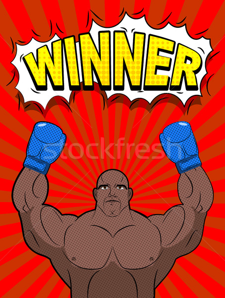 Winner in style of pop art. African American boxer wearing blue  Stock photo © MaryValery