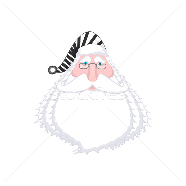 Santa face in striped robe. Arrested Bad Claus. Grandpa Photo Pr Stock photo © MaryValery