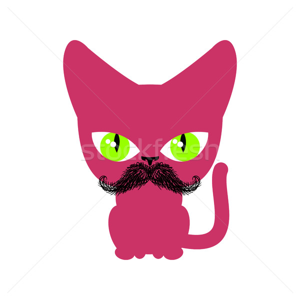 Cat hipster with mustache isolated. Pet on white background Stock photo © MaryValery