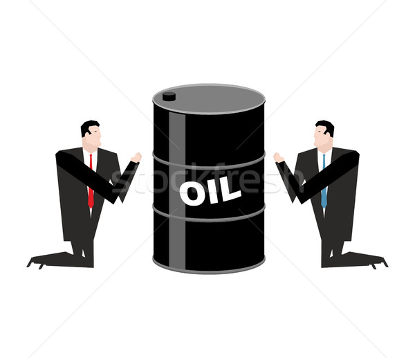 Businessman praying for oil. Prayer barrel of petroleum. Pray fo Stock photo © MaryValery