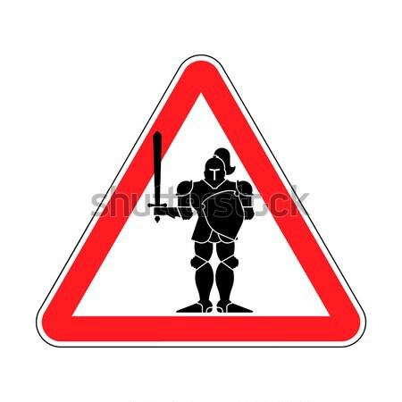 注目 ボディービル 選手 赤 三角形 道路標識 ストックフォト © MaryValery