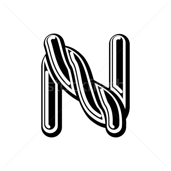 Letter N Celtic font. norse medieval ornament ABC. Traditional a Stock photo © MaryValery