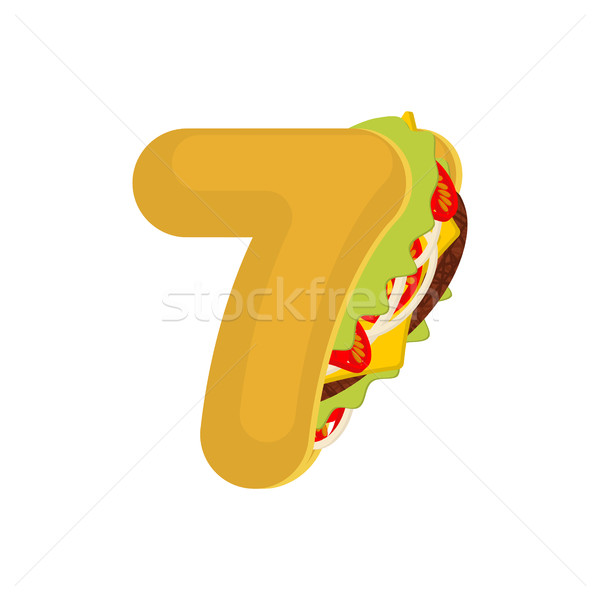 Number 7 tacos. Mexican fast food font seven. Taco alphabet symb Stock photo © MaryValery