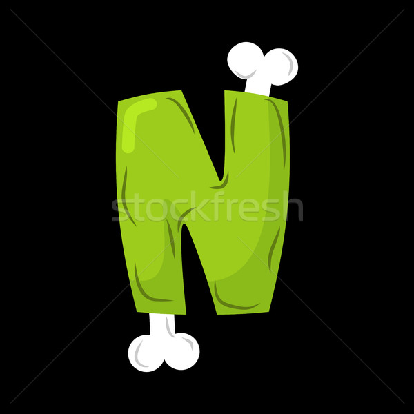 Letter N zombie font. Monster alphabet. Bones and brains letteri Stock photo © MaryValery