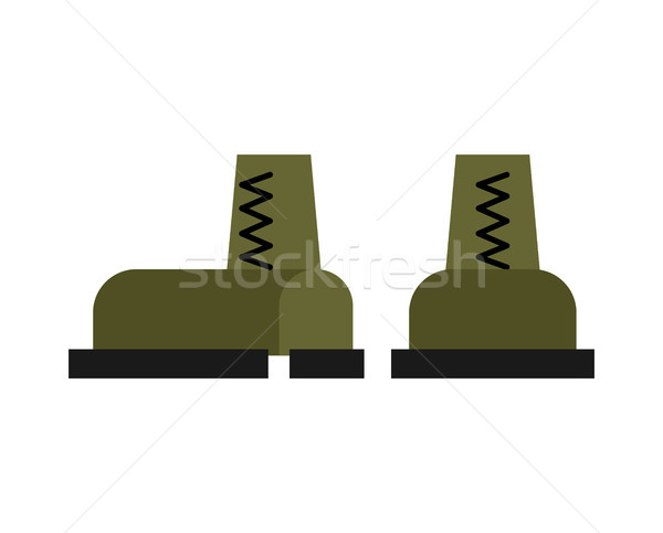 Military boots isolated. Army shoes. Soldiers accessory Stock photo © MaryValery