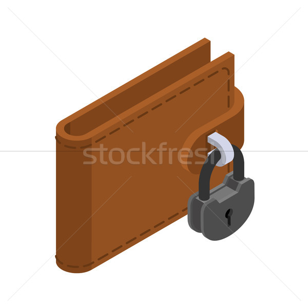 Money is protected. Wallet and padlock. Lock purse to prevent th Stock photo © MaryValery