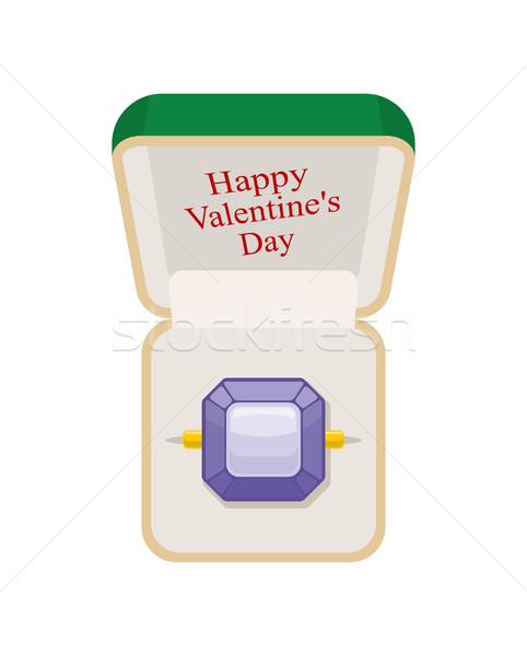 Gelukkig valentijnsdag amethist ring vak sieraden Stockfoto © MaryValery