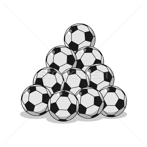 Pile of football. Many soccer balls. Sports accessory Stock photo © MaryValery