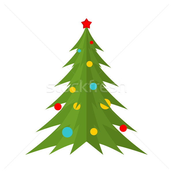 Christmas tree isolated. Festive fir-tree with balls. Spruce dec Stock photo © MaryValery
