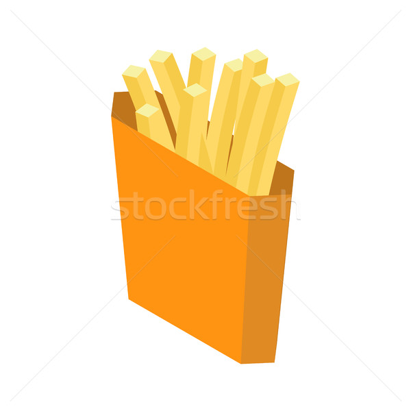 French fries isolated. Paper box for fast food on white backgrou Stock photo © MaryValery