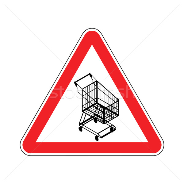Attention panier rouge panneau routier supermarché internet Photo stock © MaryValery