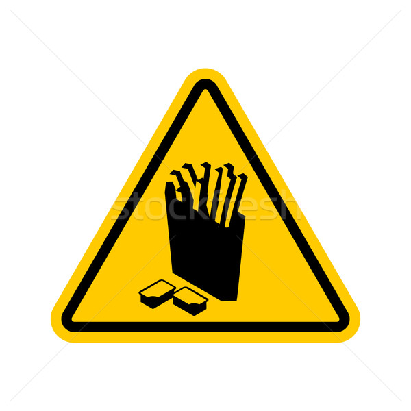 Stock photo: Attention French fries. Dangers of yellow road sign. Fast food C