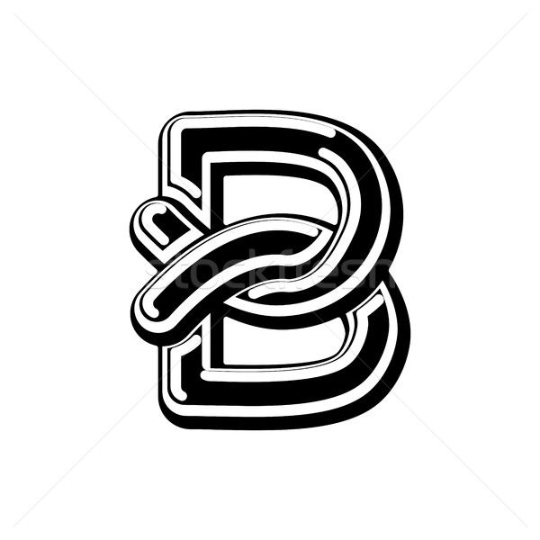 Stock photo: Letter B Celtic font. norse medieval ornament ABC. Traditional a